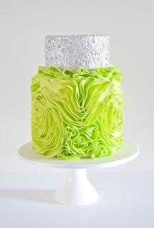 Silver confetti and Chartreuse
