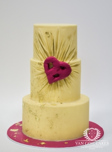 Kaysie Lackey Ruching Gold Leaf Cake